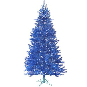 75 carribean blue laser tinsel artificial christmas tree with blue light - White Christmas Tree Blue Lights