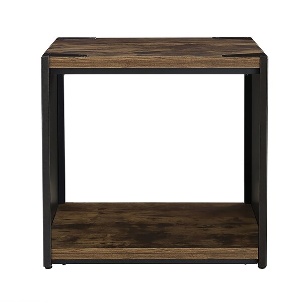 Comet Steel Plate and Wood End Table by Union Rustic