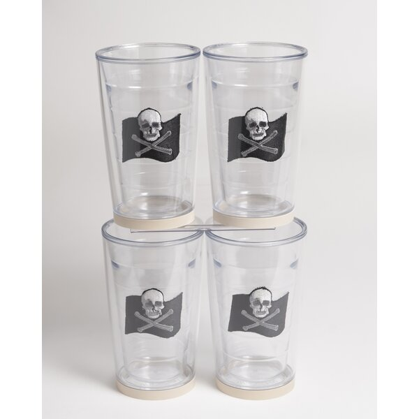Newport Jolly Roger Non-skid 16 oz. Plastic Every Day Glass (Set of 4) by Galleyware Company
