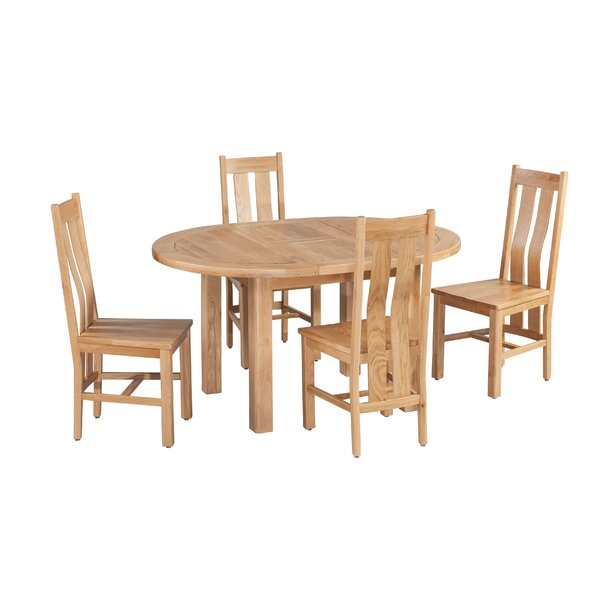 Ransom 5 Piece Extendable Solid Wood Dining Set by Loon Peak