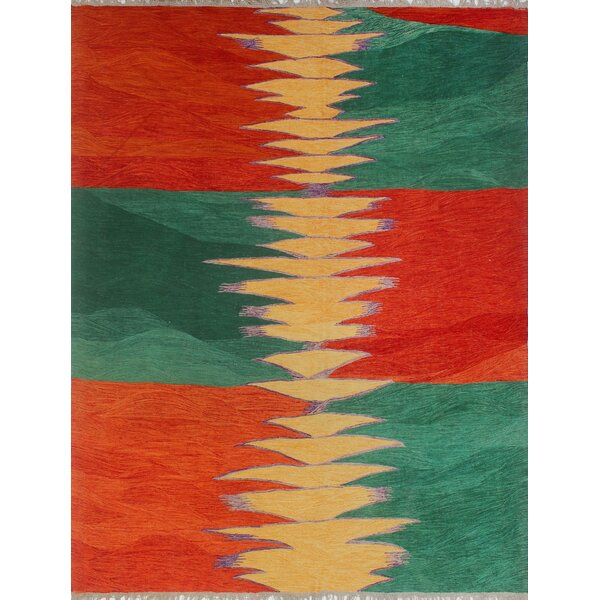 Dickie Hand-Knotted Wool Red/Blue Area Rug by Bloomsbury Market