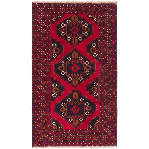 One-of-a-Kind Mcdorman Hand-Knotted Black/Dark Burgundy Area Rug by Bloomsbury Market