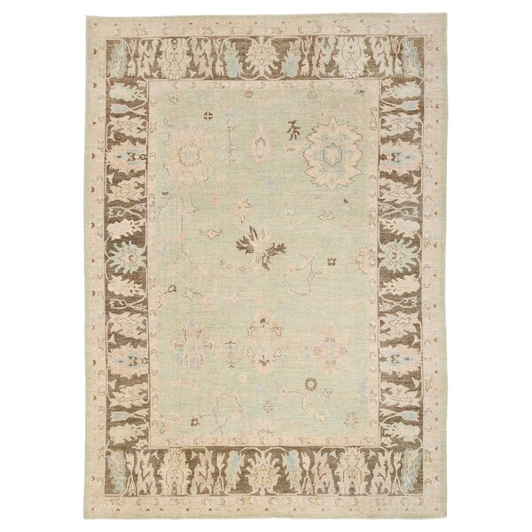 Vegetable Dye Hand-Knotted Light Green Area Rug by Herat Oriental