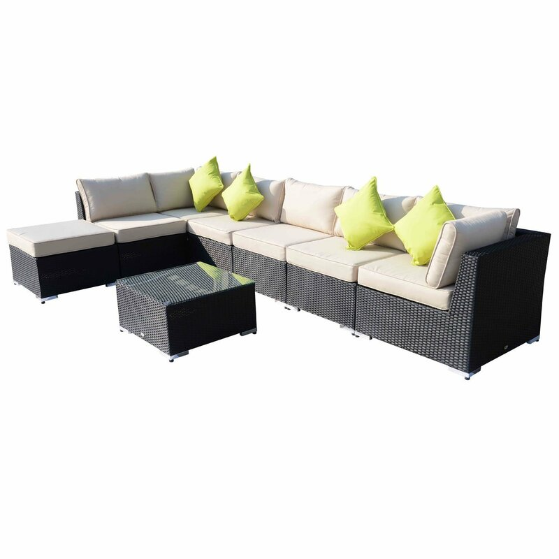 Outsunny 6 Seater Rattan Corner Sofa Set With Cushions