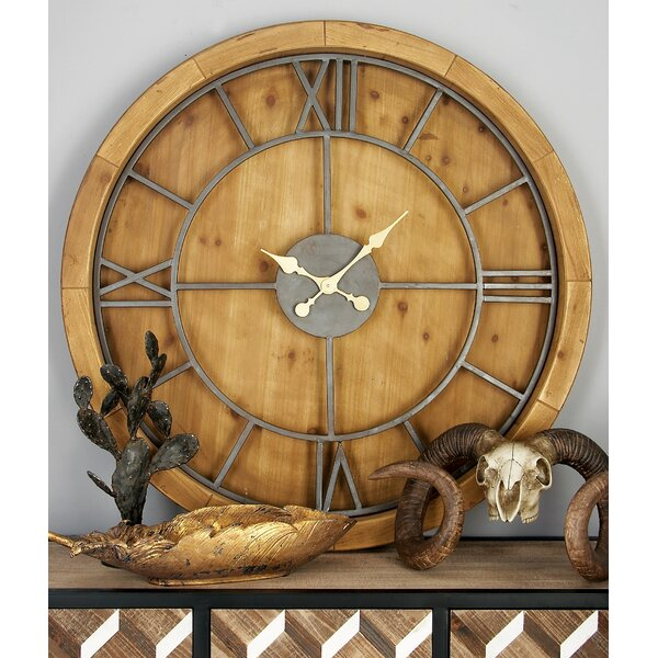 Oversized Wood and Metal 40 Wall Clock by Cole & Grey