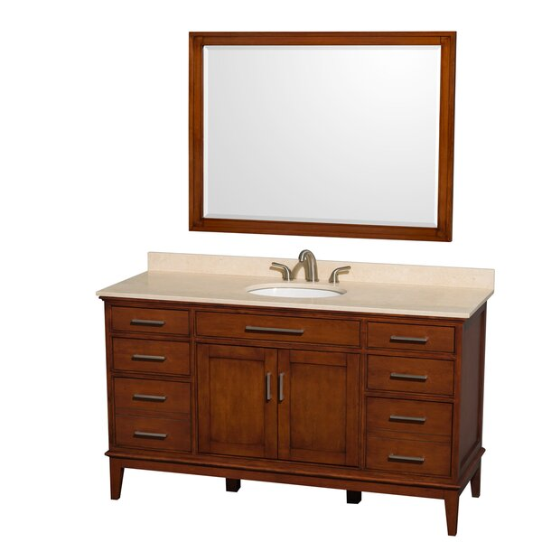 Hatton 60 Single Light Chestnut Bathroom Vanity Set with Mirror by Wyndham Collection