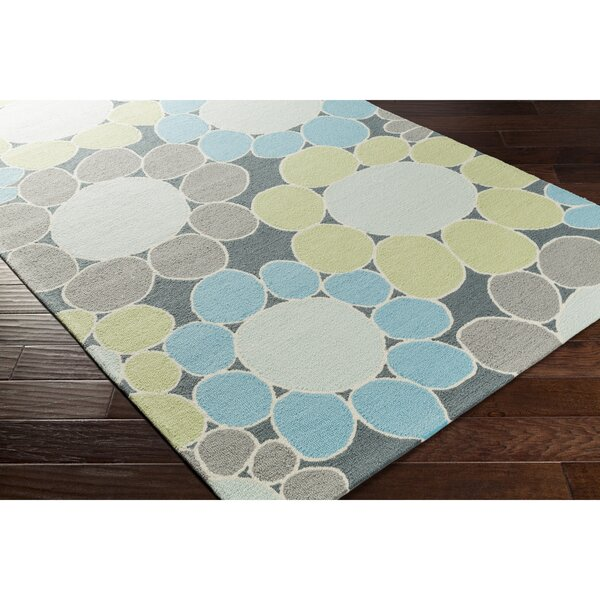 Blake Hand-Hooked Green/Blue Area Rug by Zoomie Kids