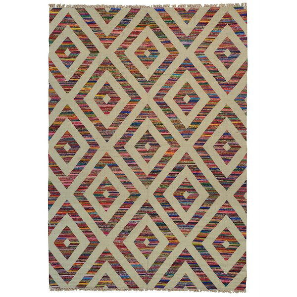 One-of-a-Kind Durie Kilim Hand-Knotted Beige/Orange Area Rug by Bungalow Rose