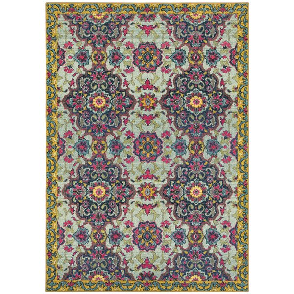 Belmonte Boho Blue/Yellow Area Rug by Bungalow Rose
