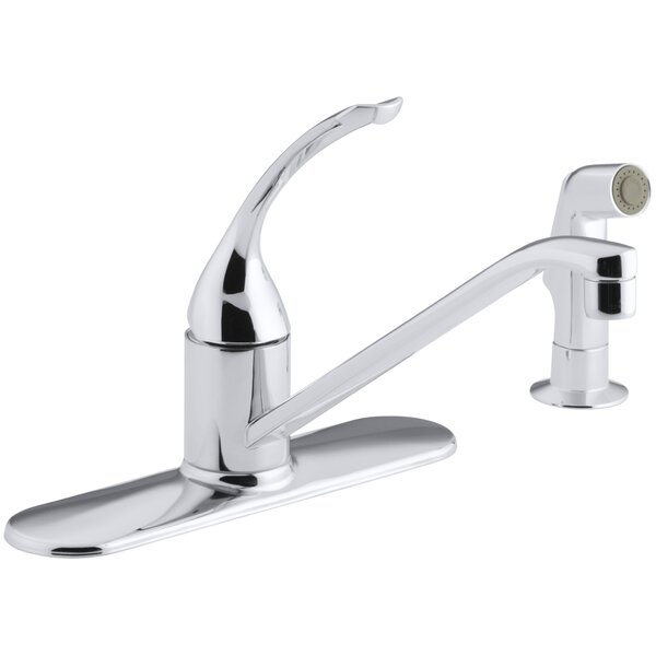 Coralais Three-Hole Kitchen Sink Faucet with 10 Spout, Matching Finish Sidespray and Loop Handle by Kohler