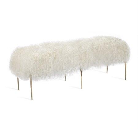 Stiletto Sheepskin Upholstered Bench by Interlude