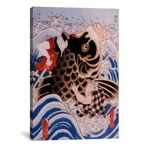 Japanese Samurai Wrestling Giant Koi Carp Woodblock Graphic Art on Canvas by iCanvas