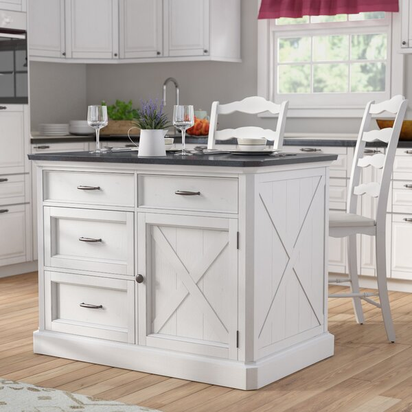 Moravia 3 Piece Kitchen Island Set with Engineered Quartz by Laurel Foundry Modern Farmhouse