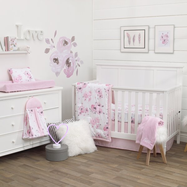 Dreamer Watercolor Floral 8 Piece Crib Bedding Set