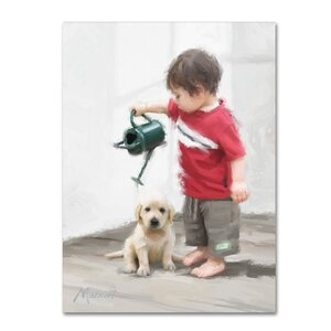 'Boy and Puppy' Print on Canvas by Trademark Fine Art