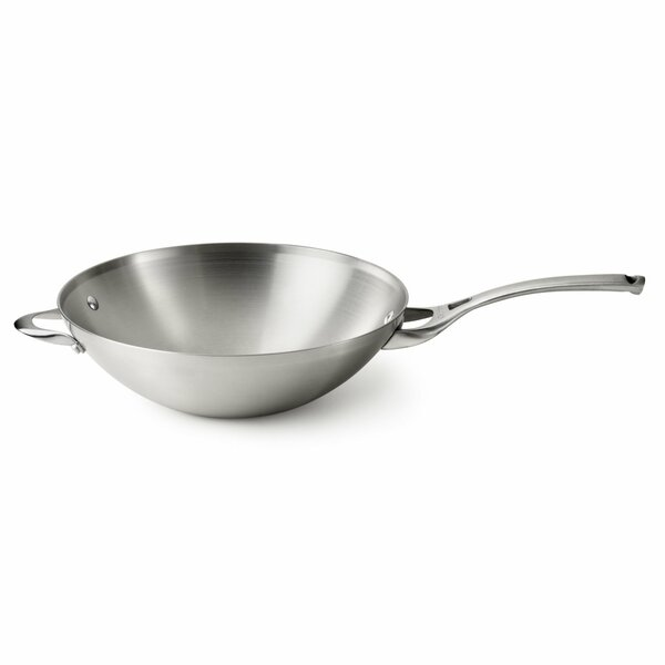 Contemporary Stainless Steel 13 Flat Bottom Wok by Calphalon