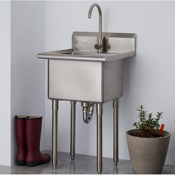 21.5 x 24 Free Standing Laundry Sink with Faucet by Trinity