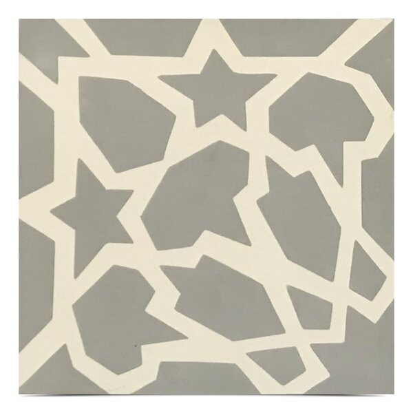 Bahja Handmade 8x 8 Cement Field Tile in Gray/White by Moroccan Mosaic