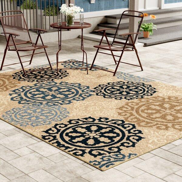 Maywood Beige/Navy/Blue Indoor/Outdoor Area Rug by