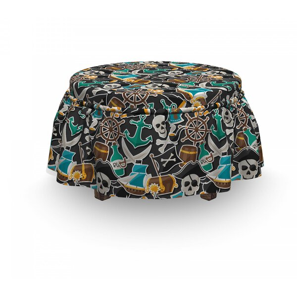 Pirates Objects Marine 2 Piece Box Cushion Ottoman Slipcover Set By East Urban Home