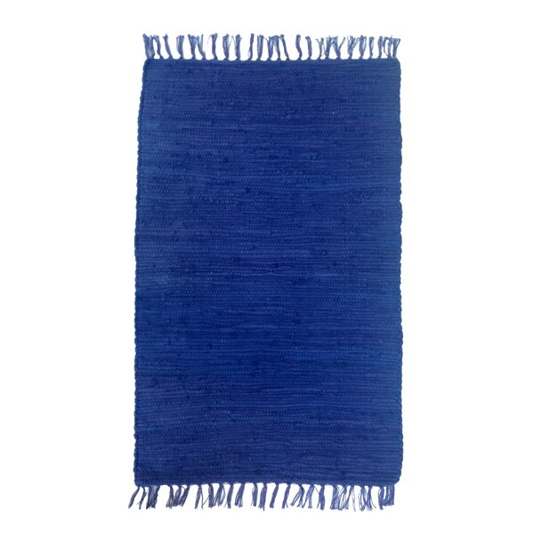 Buda Solid Hand-Flat Woven Cotton Navy Area Rug by Bungalow Rose