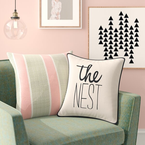 Carnell The Nest Square Cotton Throw Pillow by Mercury Row