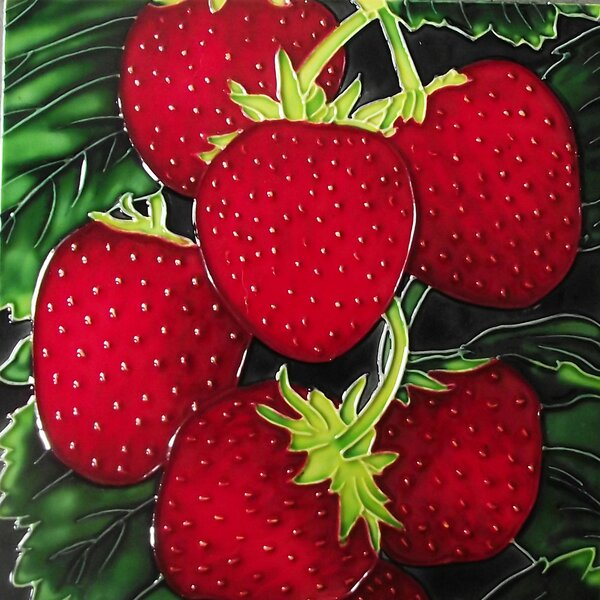 Strawberry Close Up Tile Wall Decor by Continental Art Center