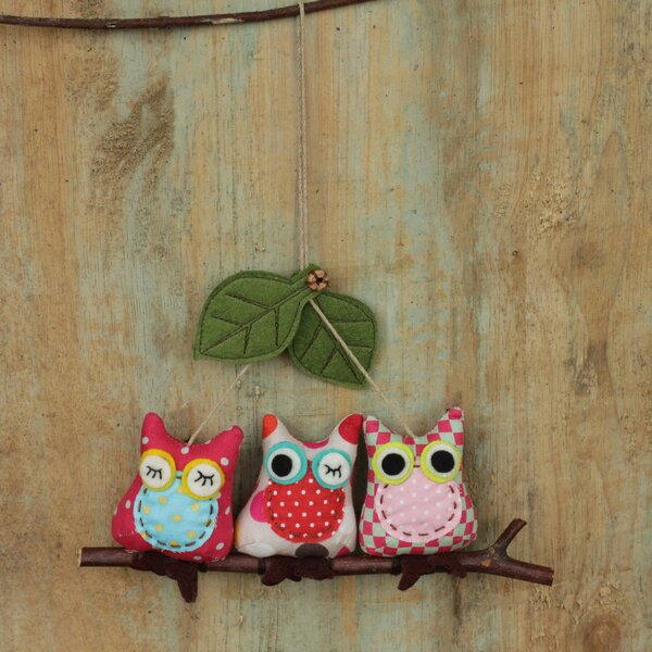 Three Cotton Owls on a Branch Hanging Ornament by Novica