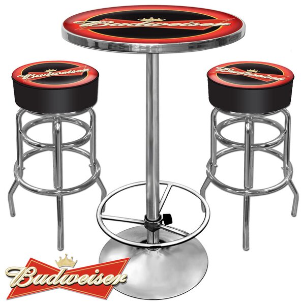 Ultimate Budweiser Game Room 3 Piece Pub Table Set By Trademark Global Cheap