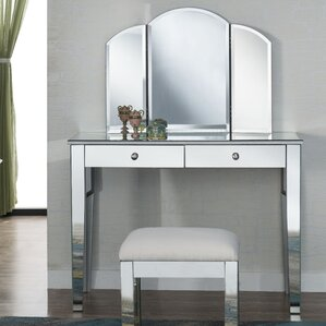 Emerita Modern Vanity Set with Mirror by Rosdorf Park