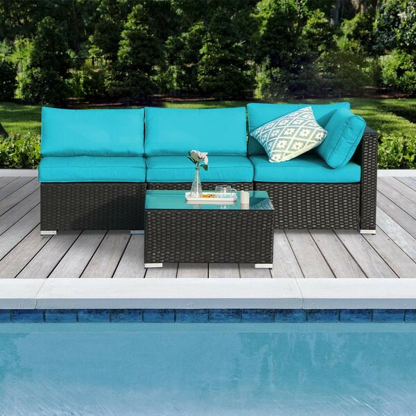 Taffy 4 Piece Rattan Sectional Seating Group by Ebern Designs