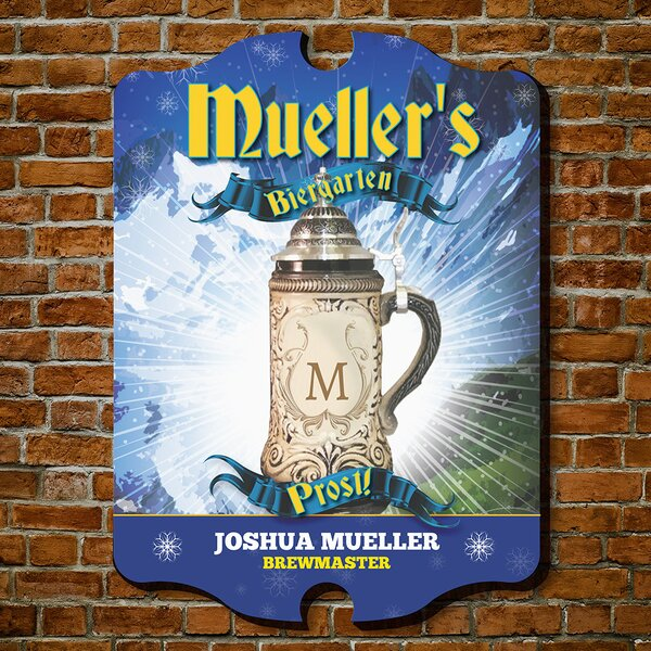 Brew Master Biergarten Personalized Beer Sign Wall Décor by Home Wet Bar