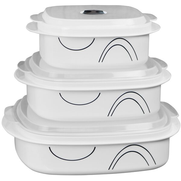 Simple Lines Microwave Cookware 3 Container Food Storage Set By Corelle.
