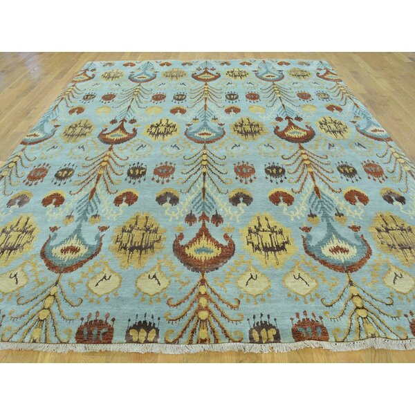 One-of-a-Kind Blanco Ikat Hand-Knotted Blue Wool Area Rug by Isabelline
