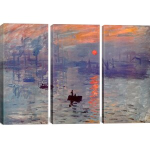 Sunrise Impression by Claude Monet 3 Piece Painting Print on Wrapped Canvas Set by Darby Home Co
