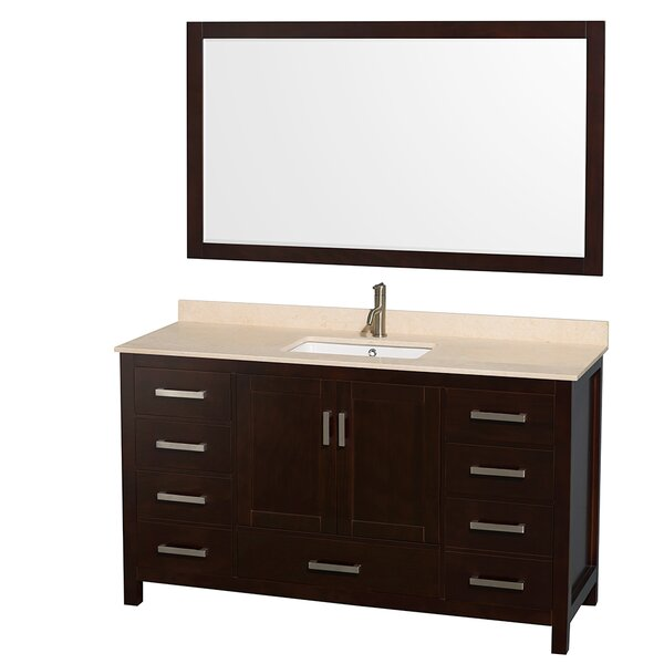 Sheffield 60 Single Espresso Bathroom Vanity Set with Mirror by Wyndham Collection