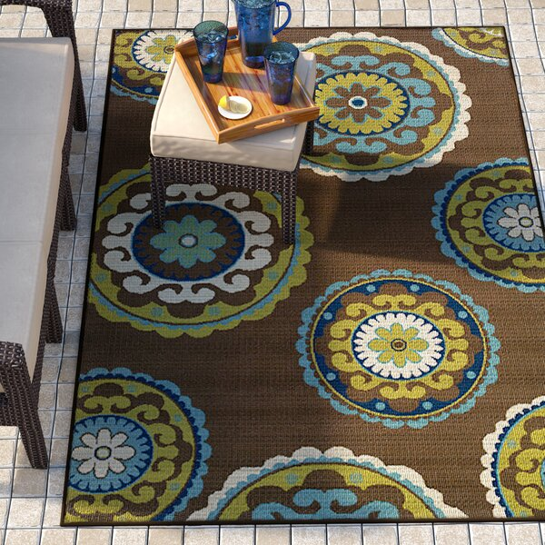 Brendel Brown/Green Indoor/Outdoor Area Rug by Andover Mills