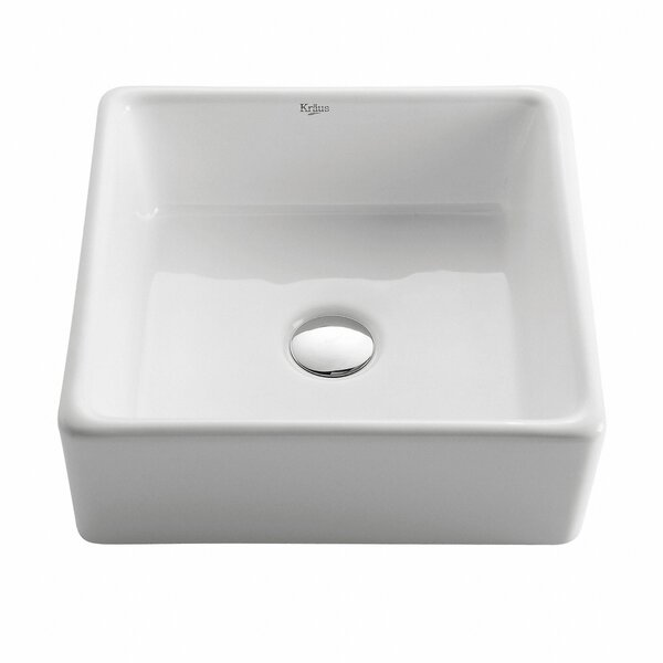 Ceramic Square Vessel Bathroom Sink by Kraus