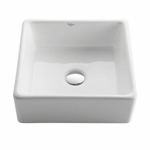 Ceramic Square Vessel Bathroom Sink by Kraus