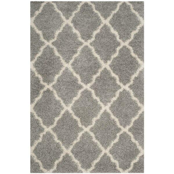Conner Shag Beige/Gray Area Rug by Ebern Designs