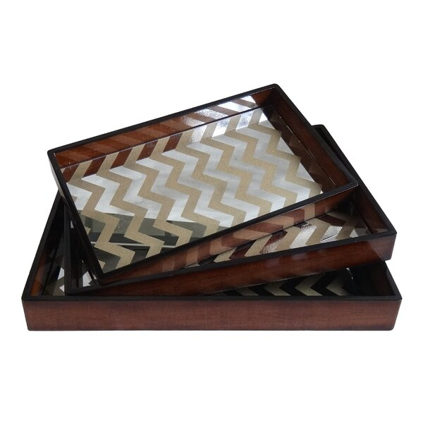 3 Piece Wooden Tray with Mirror Base Set by Cheungs