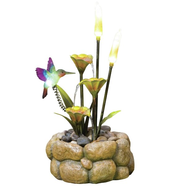 Resin/Nature Stone Glow Rock Pool Haven Fountain with LED Lights by KelKay