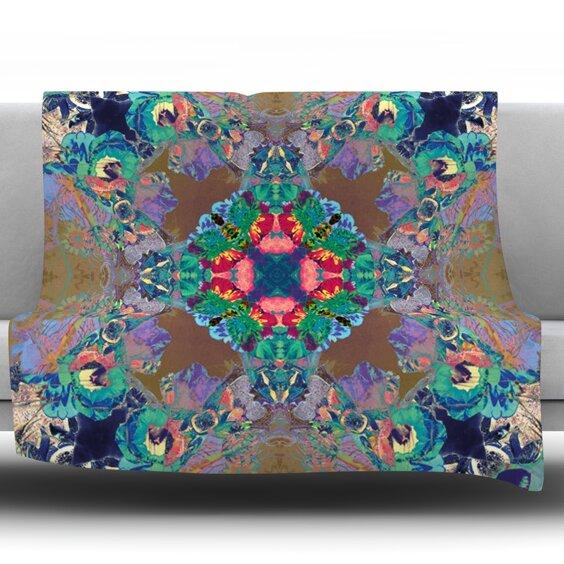 Flowery by Danii Pollehn Fleece Throw Blanket by East Urban Home