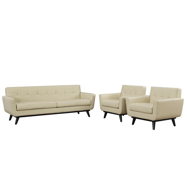 Saginaw Leather 3 Piece Living Room Set by Corrigan Studio