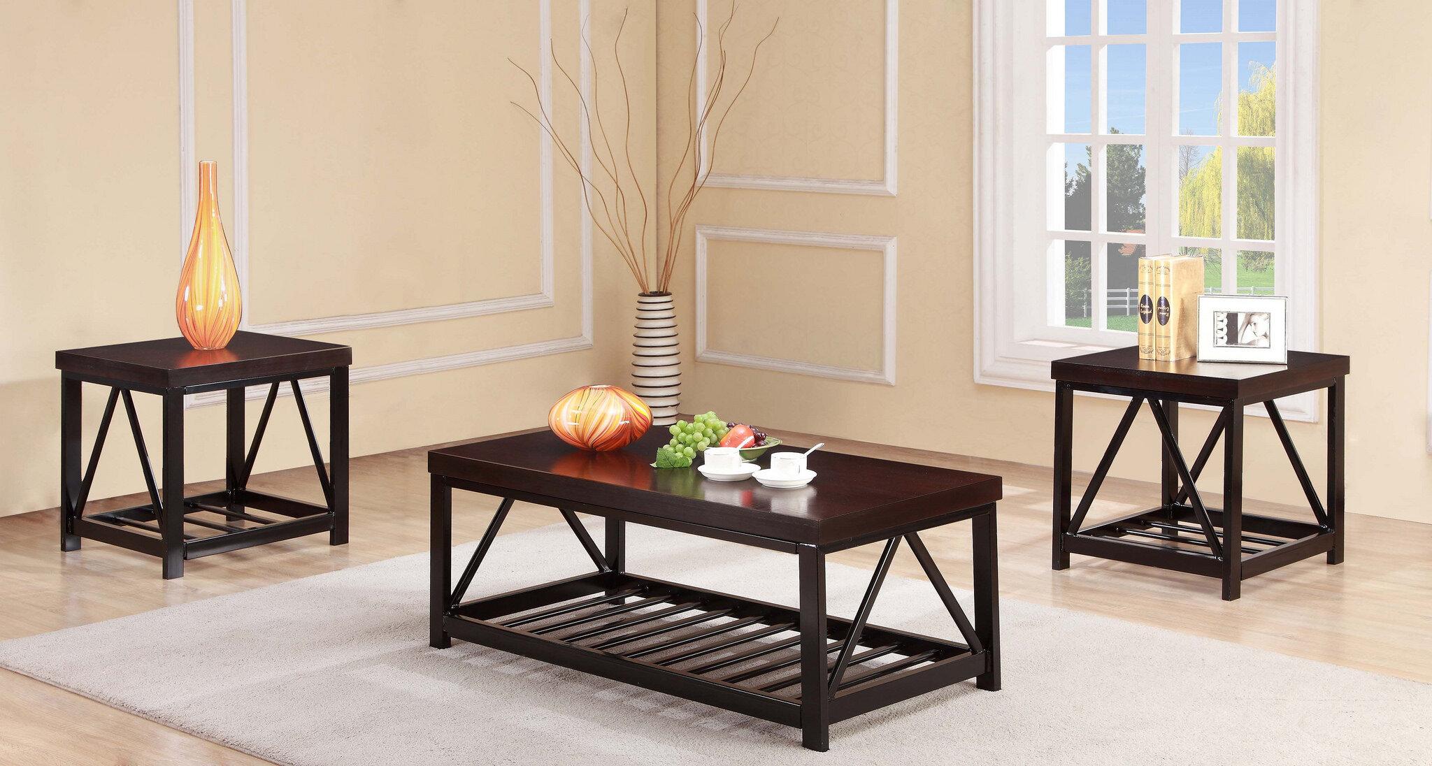 Latitude Run Delray Metal Frame 3 Piece Coffee Table Set & Reviews