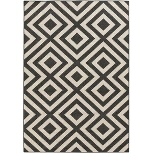 Alfresco Hand-Woven Black/Cream Outdoor Area Rug
