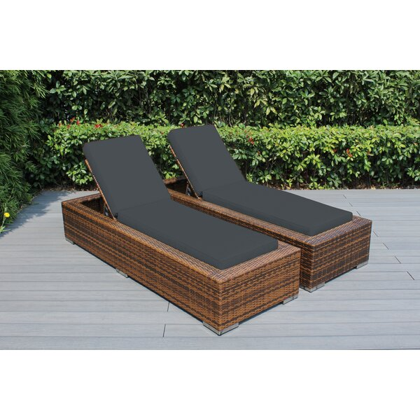Hillsg Reclining Chaise Lounge with Cushion (Set of 2) by Red Barrel Studio Red Barrel Studio
