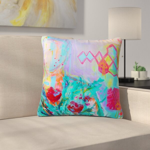 Cecibd Girl with Plants I Nature Outdoor Throw Pillow by East Urban Home