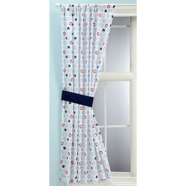 Mickey Mouse Graphic Print & Text Semi-Sheer Rod pocket Single Curtain Panel by Disney