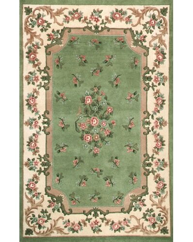 Floral Garden Aubusson Light Green/Ivory Area Rug by American Home Rug Co.